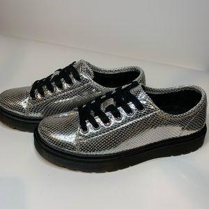 Dr. Martens Metallic Silver Snakeskin Oxfords